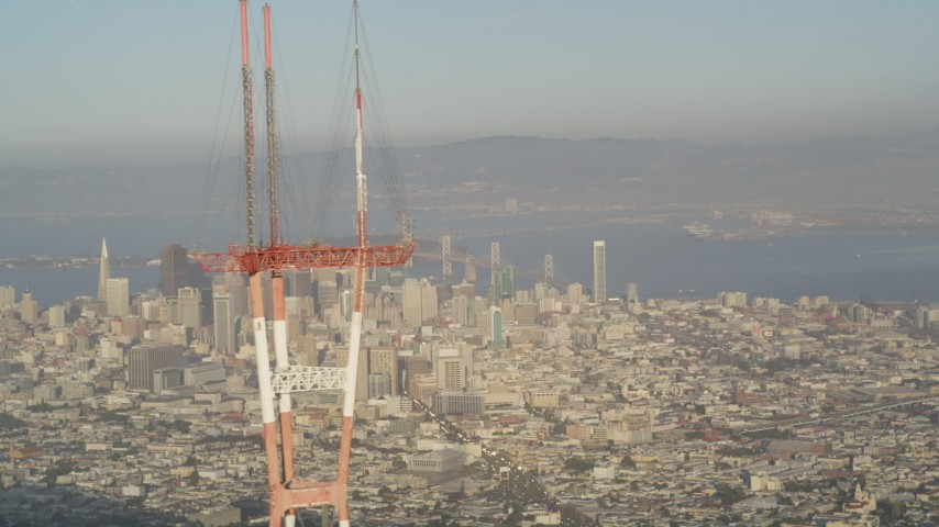 5K stock footage aerial video of orbiting top of Sutro Tower, revealing Downtown San Francisco, California Aerial Stock Footage | DFKSF13_045