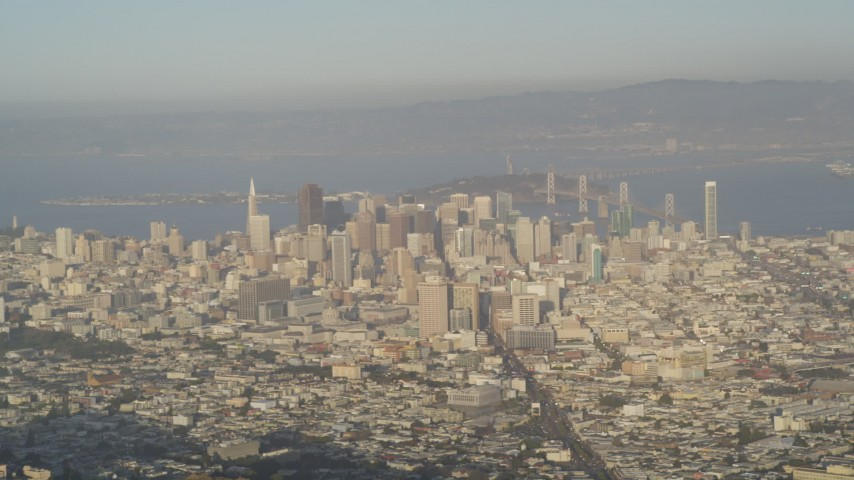 5K stock footage aerial video of a wide view of skyscrapers in downtown seen from Sutro Tower, Downtown San Francisco, California Aerial Stock Footage | DFKSF13_046