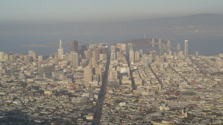 5K aerial video of skyscrapers and Market Street, seen from Sutro Tower, Downtown San Francisco, California Aerial Stock Footage | DFKSF13_047