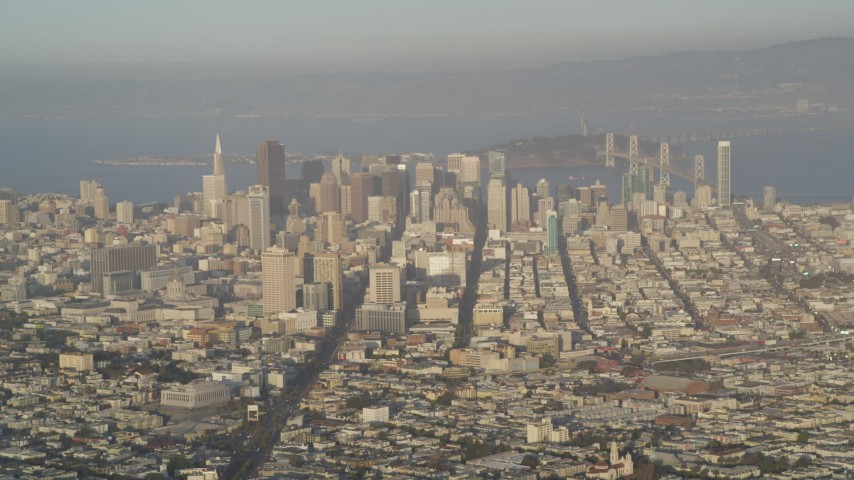 5K stock footage aerial video of skyscrapers and Market Street seen from Sutro Tower, Downtown San Francisco, California Aerial Stock Footage | DFKSF13_048