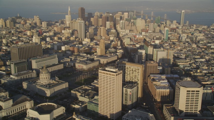 5K stock footage aerial video of panning from city hall to reveal skyscrapers in Downtown San Francisco, California Aerial Stock Footage | DFKSF13_053