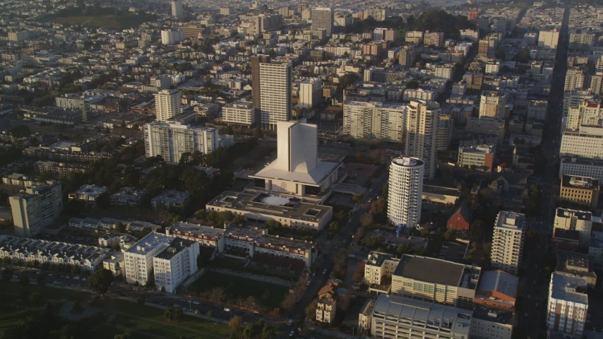 5K stock footage aerial video of approaching St. Mary's Cathedral in Western Addition; San Francisco, California Aerial Stock Footage | DFKSF13_054