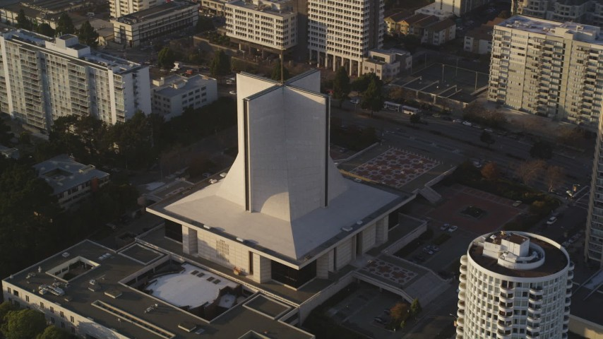 5K stock footage aerial video of flying by St. Mary's Cathedral in Western Addition, San Francisco, California Aerial Stock Footage | DFKSF13_055