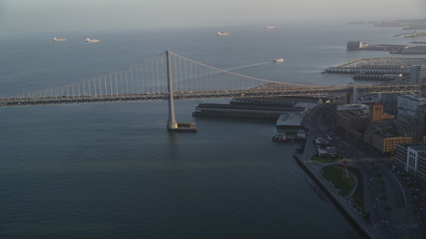 5K stock footage aerial video of approaching the Bay Bridge in San Francisco, California Aerial Stock Footage | DFKSF13_060