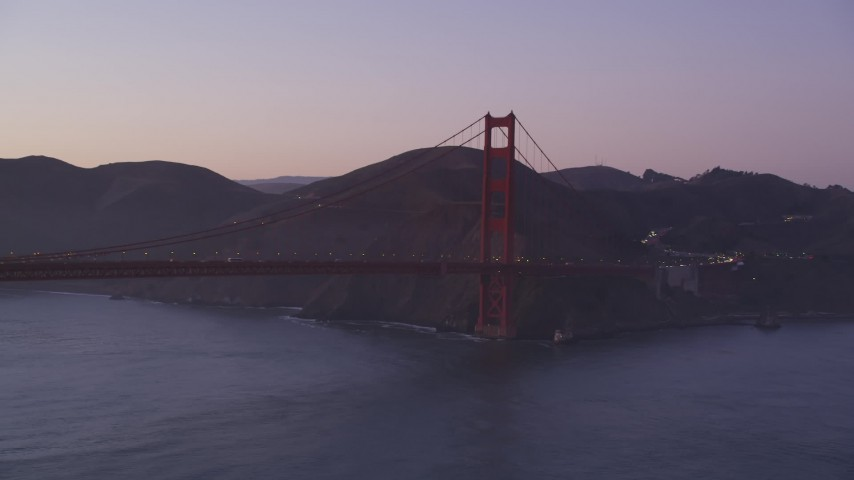 5K stock footage aerial video of flying by Marin side of Golden Gate Bridge, San Francisco, California, twilight Aerial Stock Footage | DFKSF14_039