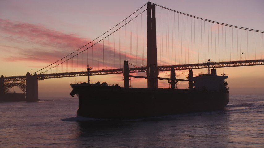 5K stock footage aerial video of flying by an oil tanker near the Golden Gate Bridge, San Francisco, California, twilight Aerial Stock Footage | DFKSF14_048