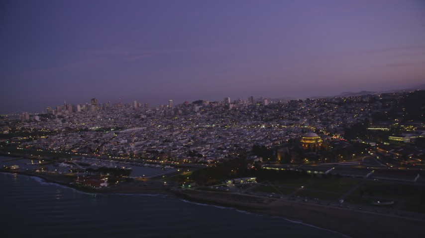 5K stock footage aerial video of panning from Marina District to Downtown San Francisco skyline, California, twilight Aerial Stock Footage | DFKSF14_054