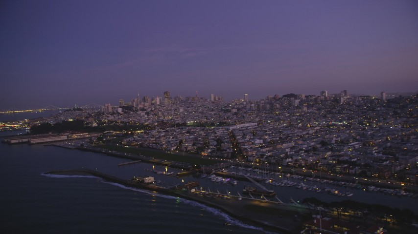 5K stock footage aerial video of a view of the city skyline of Downtown San Francisco, California, twilight Aerial Stock Footage | DFKSF14_055