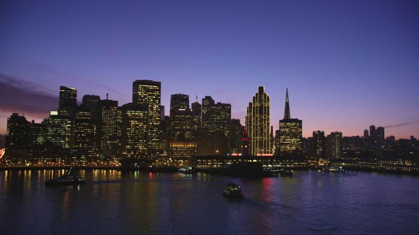 5K aerial stock footage video of Downtown San Francisco skyscrapers and Ferry Building, California, twilight Aerial Stock Footage | DFKSF14_065