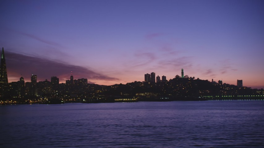 5K stock footage aerial video of a view of Coit Tower and reveal Transamerica Pyramid, San Francisco, California, twilight Aerial Stock Footage | DFKSF14_067