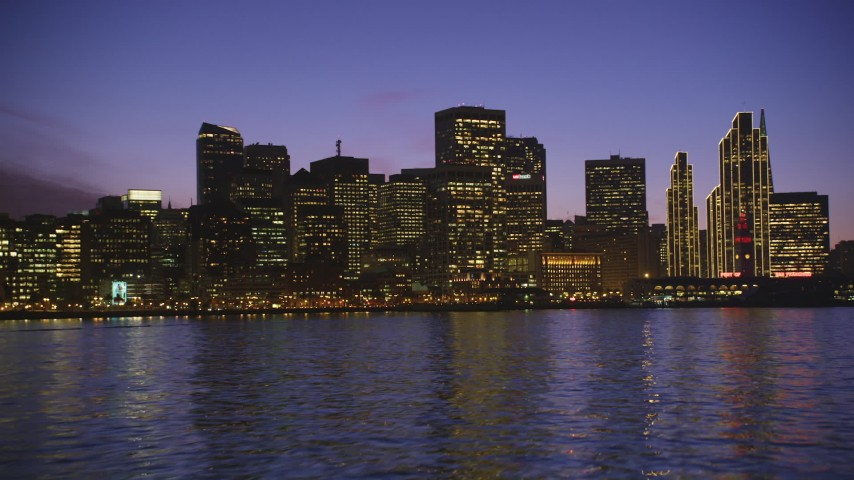 5K stock footage aerial video approach waterfront skyline from the Bay, Downtown San Francisco, California, twilight Aerial Stock Footage | DFKSF14_069
