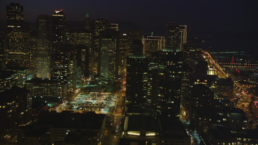 5K stock footage aerial video of a view of skyscrapers in Downtown San Francisco, California, night Aerial Stock Footage | DFKSF14_078