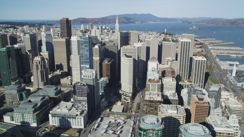 5K stock footage aerial video of the city's buildings and tall skyscrapers, Downtown San Francisco, California Aerial Stock Footage | DFKSF15_010