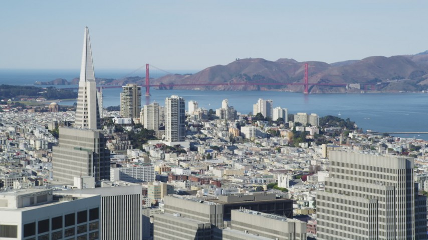 5K aerial video of a view of Golden Gate Bridge from Downtown San Francisco, California Aerial Stock Footage | DFKSF15_011