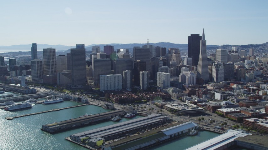 5K stock footage aerial video flyby Transamerica Pyramid and city skyscrapers in Downtown San Francisco, California Aerial Stock Footage | DFKSF15_015
