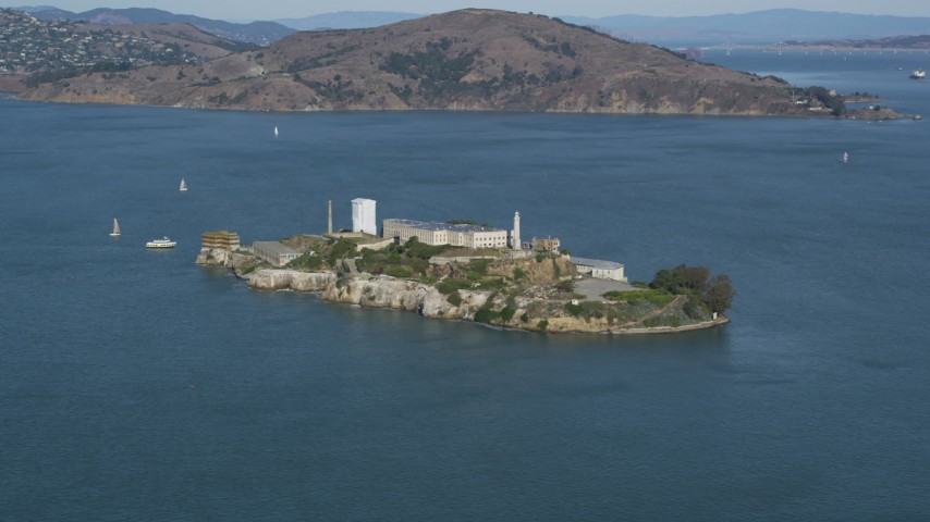 Flying by Alcatraz, San Francisco, California Aerial Stock Footage | DFKSF15_019