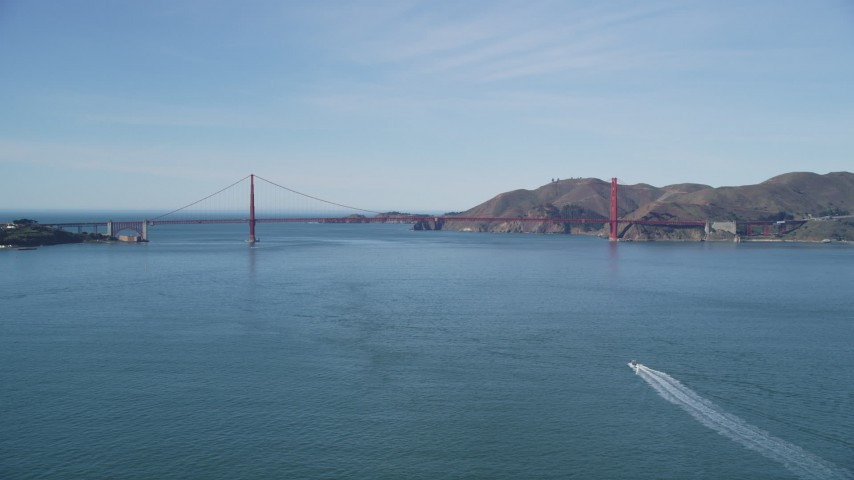 5K stock footage aerial video of approaching the world famous Golden Gate Bridge, San Francisco, California Aerial Stock Footage | DFKSF15_021