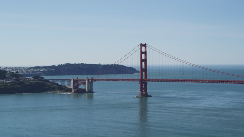 5K stock footage aerial video of flying by the Golden Gate Bridge's San Francisco side, California Aerial Stock Footage | DFKSF15_025