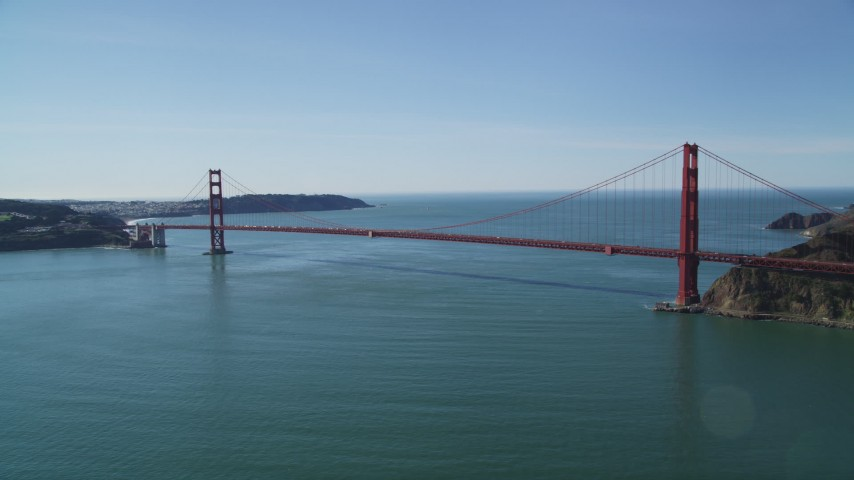 5K stock footage aerial video of a view of the famous Golden Gate Bridge, San Francisco, California Aerial Stock Footage | DFKSF15_026