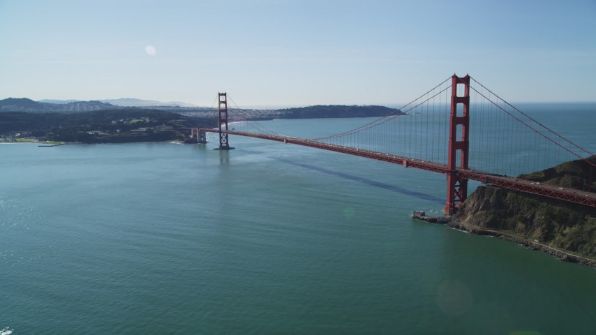 5K aerial stock footage video of a view of the Golden Gate Bridge from the Marin side, San Francisco, California Aerial Stock Footage | DFKSF15_027