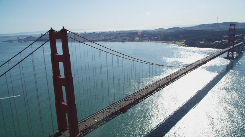 5K stock footage aerial video of flying by Golden Gate Bridge with light traffic, San Francisco, California Aerial Stock Footage | DFKSF15_029