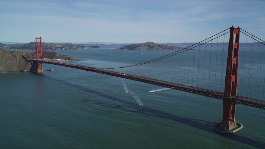 Flying away from the Golden Gate Bridge, San Francisco, California Aerial Stock Footage | DFKSF15_036