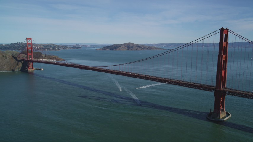 5K aerial video of flying away from the world famous Golden Gate Bridge, San Francisco, California Aerial Stock Footage | DFKSF15_036