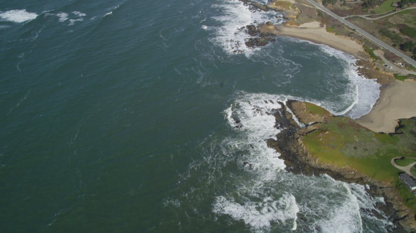 5K stock footage aerial video of a reverse view of the coastline, Pescadero, California Aerial Stock Footage | DFKSF15_094