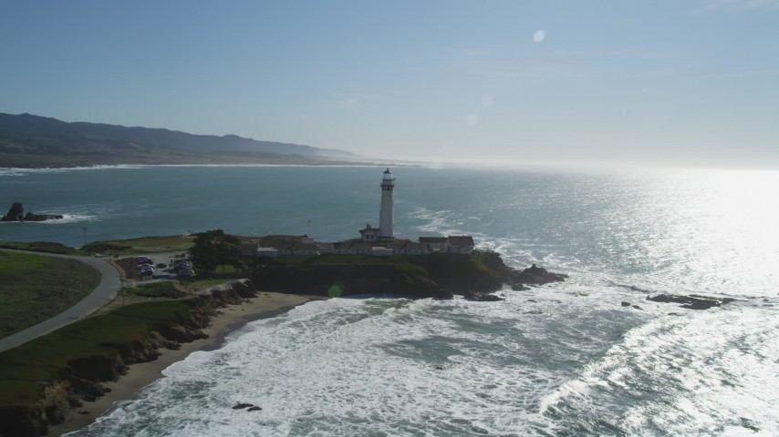 5K stock footage aerial video approach Pigeon Point Light Station in Pescadero, California Aerial Stock Footage | DFKSF15_096