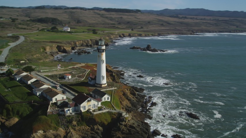 5K stock footage aerial video of Pigeon Point Light Station overlooking the ocean in Pescadero, California Aerial Stock Footage | DFKSF15_097