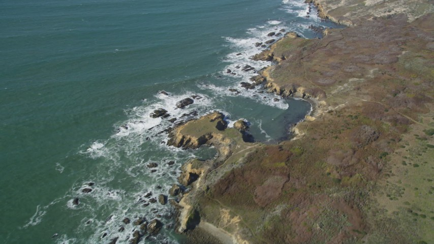 5K stock footage aerial video of a reverse view of the rugged coast, Pescadero, California Aerial Stock Footage | DFKSF15_099