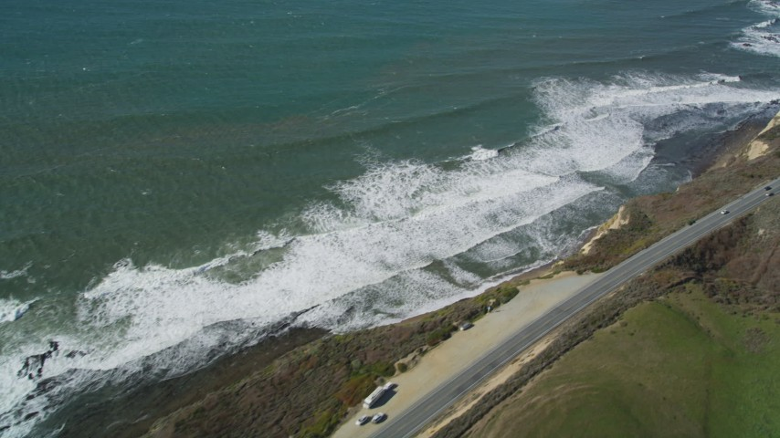 5K stock footage aerial video of the Highway 1 coastal road in Davenport, California Aerial Stock Footage | DFKSF15_108
