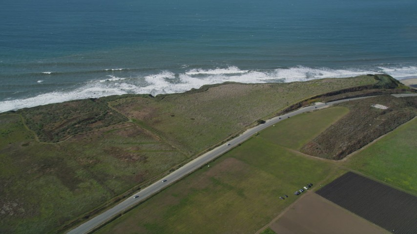 5K stock footage aerial video of the Highway 1 coastal road in Davenport, California Aerial Stock Footage | DFKSF15_111