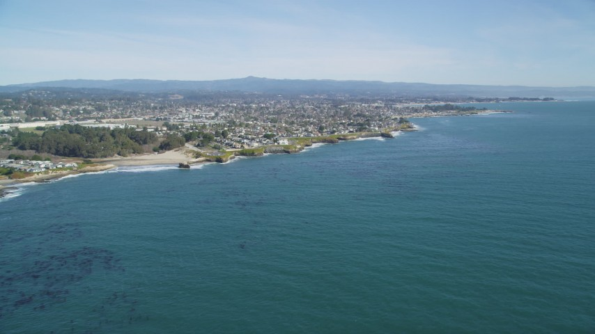 5K stock footage aerial video of coastal neighborhoods in Santa Cruz, California Aerial Stock Footage | DFKSF15_125