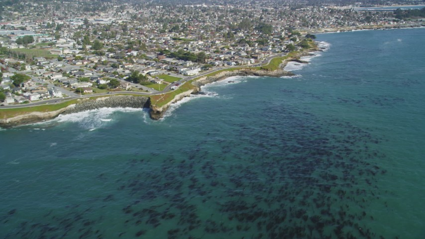 5K stock footage aerial video of tilting from kelp forests to reveal coastal neighborhoods, Santa Cruz, California Aerial Stock Footage | DFKSF15_126