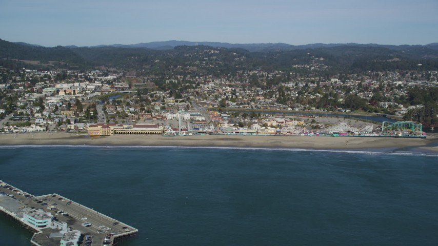 5K aerial video of flying by the Santa Cruz Beach Boardwalk, Santa Cruz, California Aerial Stock Footage | DFKSF15_129