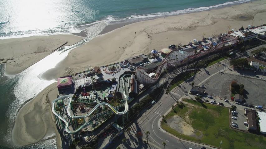 Flying over the beach, Santa Cruz Beach Boardwalk, Santa Cruz, California Aerial Stock Footage DFKSF15_137