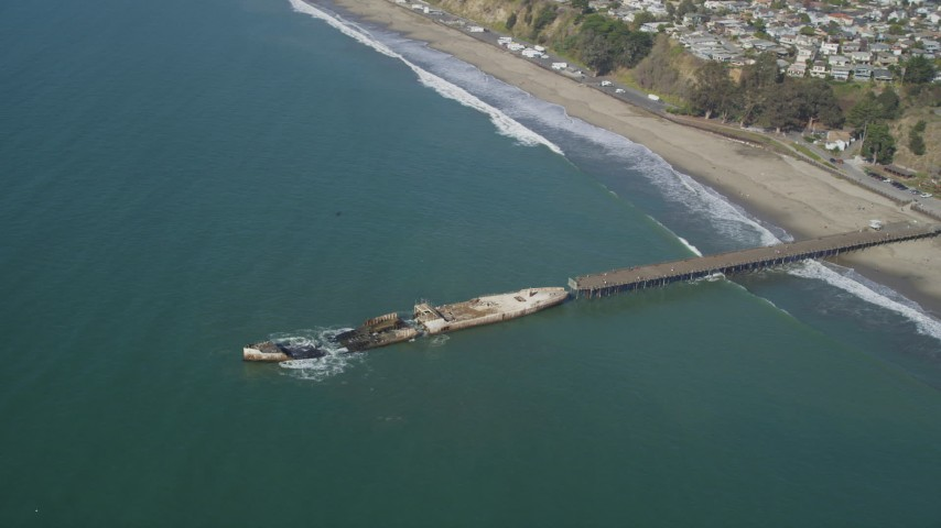5K stock footage aerial video of orbiting the SS Palo Alto shipwreck near Seacliff State Beach, Aptos, California Aerial Stock Footage DFKSF15_142 | Axiom Images