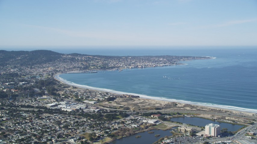 5K stock footage aerial video of the Monterey Peninsula and Monterey coastal community, Monterey, California Aerial Stock Footage | DFKSF15_154