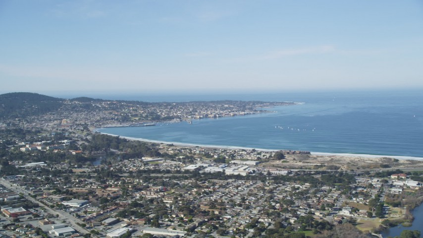 5K stock footage aerial video of a wide view of the Monterey Peninsula and Monterey Bay, Monterey, California Aerial Stock Footage | DFKSF15_155