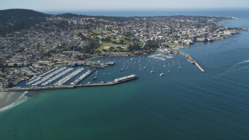 5K stock footage aerial video approach Monterey Fisherman's Wharf and coastal neighborhoods in Monterey, California Aerial Stock Footage | DFKSF16_004