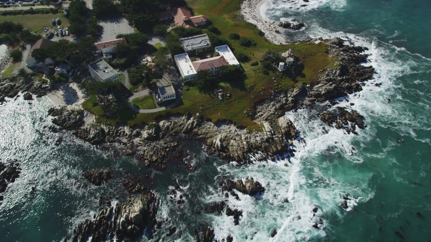 5K stock footage aerial video of the Hopkins Marine Station scientific facility, Monterey, California Aerial Stock Footage | DFKSF16_008