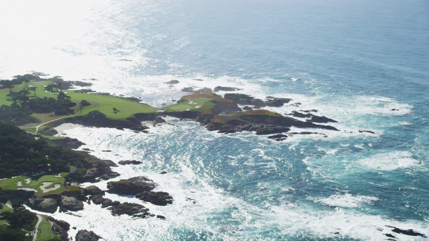 5K stock footage aerial video of rugged coastline around Cypress Point Golf Course, Pebble Beach, California Aerial Stock Footage | DFKSF16_020