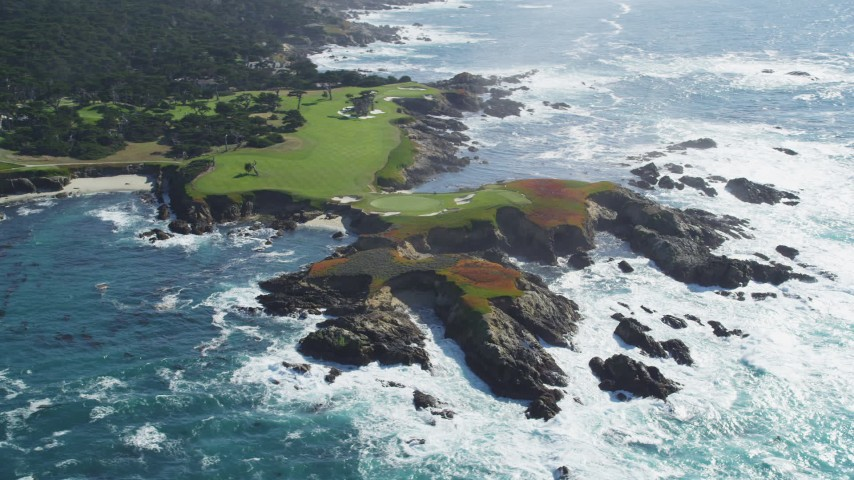 5K stock footage aerial video of flying by coastline around Cypress Point Golf Course, Pebble Beach, California Aerial Stock Footage | DFKSF16_021