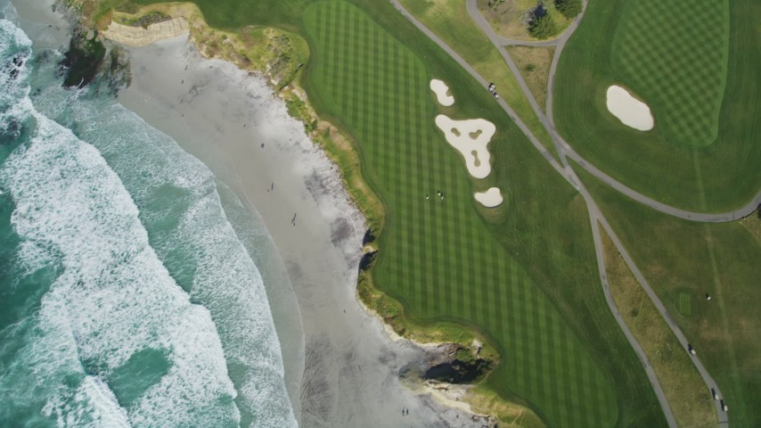 5K stock footage aerial video of a bird's eye view of a beachfront golf course in Pebble Beach, California Aerial Stock Footage DFKSF16_035 | Axiom Images