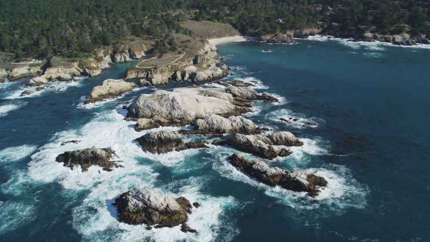 5K stock footage aerial video of flying by coastal rock formations, Carmel, California Aerial Stock Footage | DFKSF16_048
