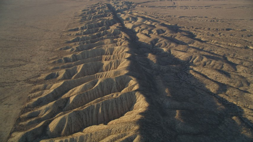 5K stock footage aerial video of flying over San Andreas Fault and desert, San Luis Obispo County, California Aerial Stock Footage | DFKSF17_029