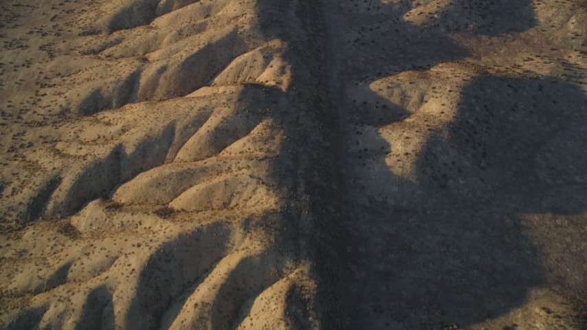 5K stock footage aerial video tilt from bird's eye of the ridge of the San Andreas Fault, San Luis Obispo County, California Aerial Stock Footage | DFKSF17_033