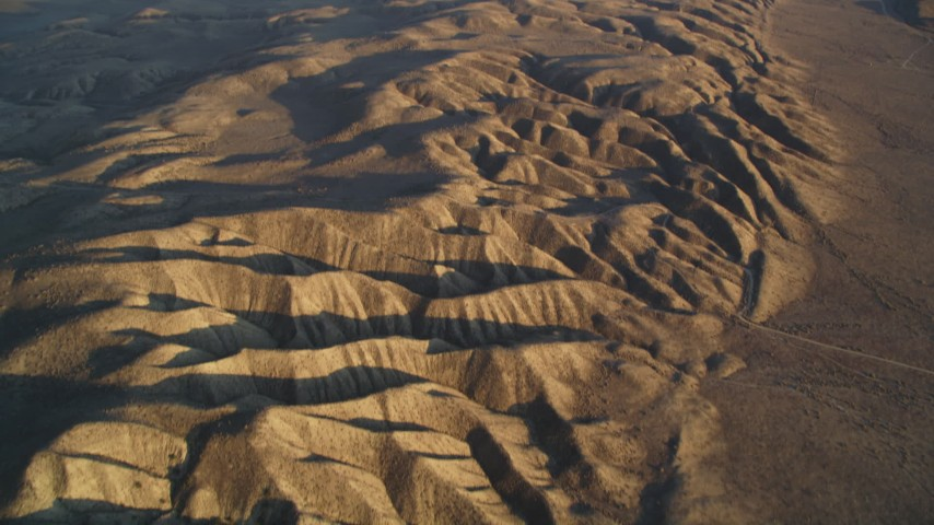 5K aerial video tilt from bird's eye of San Andreas Fault to a wider view, San Luis Obispo County, California Aerial Stock Footage | DFKSF17_037