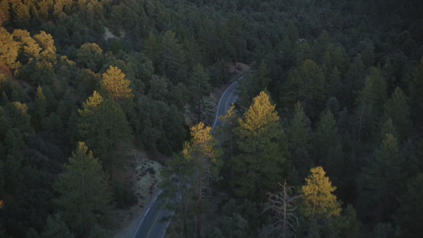 5K stock footage aerial video of following a road through the forest, Los Padres National Forest, California, sunset Aerial Stock Footage | DFKSF17_046